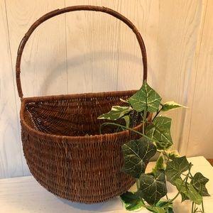 Vintage retro wicker hanging basket